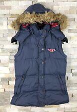 Hollister Ladies Size XS Uk 8 fur Trim Down Jacket Hood Gilet Coat Puffer