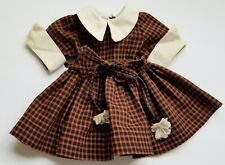 Original ~Terri Lee~ Tagged Rust And Black Checked Doll Dress With White Trims