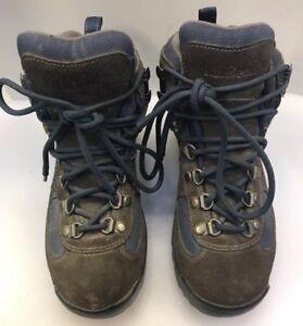 LL Bean Women 6.5 M US Hiking Boots Gore Tex Gray Suede Blue Nylon