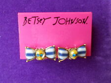 Betsey Johnson Authentic NWT Gold-Tone Skull Striped Bow Stud Earrings