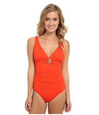 Womens MICHAEL Michael Kors Logo Ring Shirred Maillot One Piece Swimsuit Sz 12