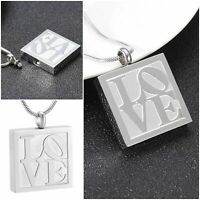 Urn Keepsake Necklace Cremation Jewellery Ashes Pendant Locket Silver Love