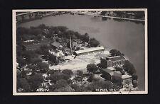 De Pere Wisconsin WI c1940s RPPC AERIAL View of the Town Center, Dam & River