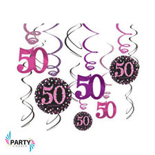 50th Birthday Party Supplies Sparkling SWIRL DECORATIONS Pack Of 12 Genuine LIC