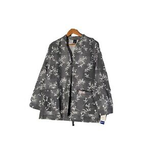 Barco Womens Jacket Scrub Black And White Floral Pockets Riverwashed Size M