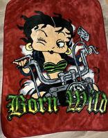 "Vintage Betty Boop Blanket ""Born Wild"" The Northwest Company Full Size"