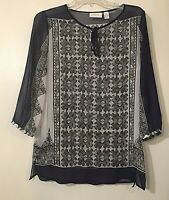 Chico's  Woman's Sheer White And Black Tie Front Tunic Top Size 1 (M) EUC