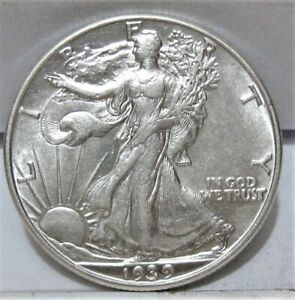 1939-P Walking Liberty Half Dollar - Higher (AU) Grade - Beautiful Luster
