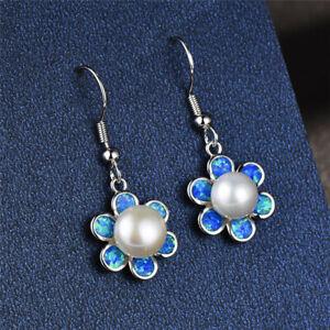 Pearl Dangle Blue simulated Opal Stud Earrings Fashion Silver Jewelry Gift