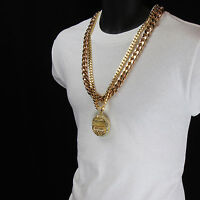 "Men Iced Out Hip Hop 14k Gold Plated Last Supper CZ Pendant Two 30"" Cuban Chain"