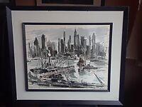 Mid-Century Modern FAMOUS JOHN HAYMSON Lithograph print of Hudson river skyline