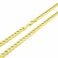 """14k Real Yellow Gold 5.5MM 22in Cuban Curb Link Chain Necklace Lobster Clasp 22"""""""