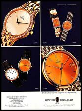 1993 Concord Watch Vintage PRINT AD Swiss Gold Jewelled Diamonds Hand Watches