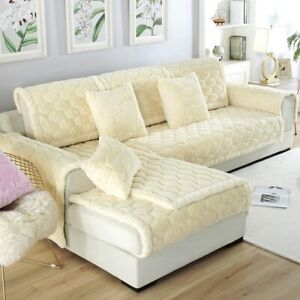 Wide-brimmed Rabbit Fur Sofa Cushion Fabric Non-slip Sofa Towel Plush Sofa Cover