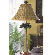 TABLE LAMP: Tropical Palm Tree Base with Rattan Lamp Shade NEW 40W