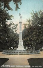 Texas postcard San Antonio Confederate Monument and Travis Park