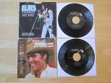 (2) Elvis 45rpm Records & Picture sleeve: My Way/America & Guitar Man/Faded Love