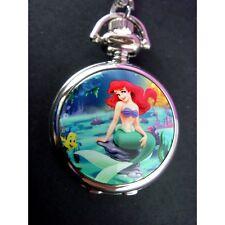 Disney Princess Ariel Little Mermaid Child Fashion Pocket Pendant Watch Necklace