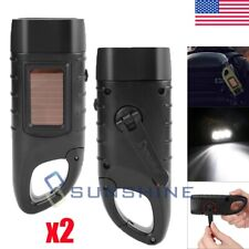 2pcs Emergency Solar Powered Hand Crank LED Flashlight Torch Rechargeable Torch