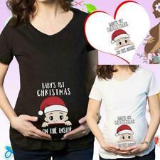 Trendy Tops For Pregnant Women Santa Maternity Clothes Christmas Clothes Z8E3