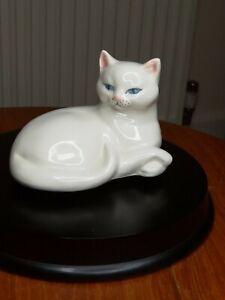 Fantastic White Porcelain Figurine Of Cat