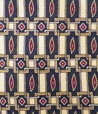 Geoffrey Beene Necktie Silk Neck Tie Burgundy Leaves Navy Blue & Gold Square