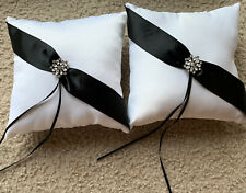 "2 Ring Bearer Pillows black and white satin With ""diamond"" jewels"