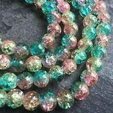 1 Strand (100 Beads) 8mm Round Multi Colour Crackle Glass Beads Cr3