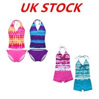 UK Child Girls Tankini Set Swimwear Swimsuit Beachwear Bikini Bath Suits Costume