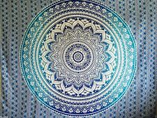 Blue Ombre Mandala Cotton Wall Hanging Tapestry Bohemian Room Decor Bedspread