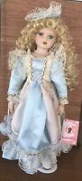 Porcelain Victorian Doll 13 in Blue Dress Long Blonde Curls Trunk Extra Outfit