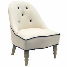 Arch Back Chair Cream Colour Padded Fabric Seat Wooden Frame Bedroom Furniture