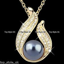 Black Grey Pearl Gold Necklace Crystal Cubic Zirconia Christmas Gifts for Her L1