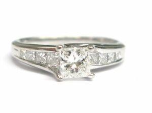 Fine Princess Cut Diamond Engagement Ring White Gold 1.02CT
