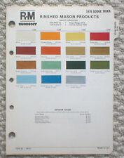 1976 DODGE TRUCK Color Chip Paint Chart Brochure: R-M