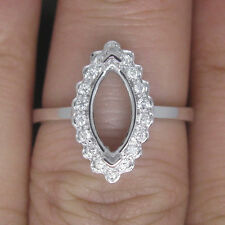 Marquise Cut Solid 14k White Gold Natural Diamond Setting Semi Ring Sets Mount