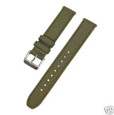 17mm Voguestrap Olive Drab Green Canvas & Leather Stitched Watch Band
