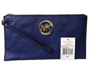 Genuine Michael Kors Sapphire Blue Leather Goldtone Fulton Small Wristlet Clutch