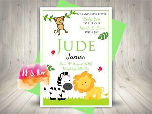 Personalised New Baby Boy or Girl Card: Cute Jungle Zoo Animals, Congratulations