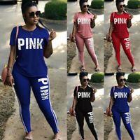 2Pcs Women Tracksuit Sets Prited T Shirt Top&Cut Out Shorts Pants Casual Suit