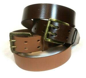 Genuine Leather Belt 2 prong Dk Brown, Brown Tan, Pants Jeans RATS BUM