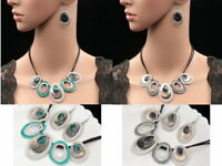 leaf cut natural shell enamel choker silver plated necklace dangle earrings K17
