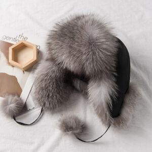 Womens Real Fox Fur Hats Russian Ushanka Aviator Adjustale Trapper Cap Earflaps
