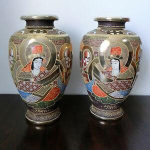 32cm Paar alte Satsuma Style Moriage Porzellan Vase Gold Rakan Japan Samurai top