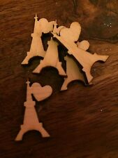 10 x Wooden Mini EIFFEL TOWER/LOVE EMBELLISHMENT Craft Card Scrapbook /SD447