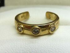 Cubic Zirconia Three-Stone Yellow Gold Fine Rings