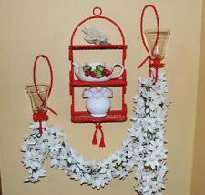 BRIGHT CANDY APPLE RED TWISTED METAL HOMCO 3/TIER SHELF & 2 CANDLE SCONCES - NEW