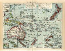 1904 OCEANIA AUSTRALIA NEW ZEALAND PAPUA FIJI SAMOA NEW CALEDONIA Map dated