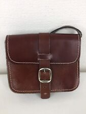 Vintage Leather Saddle Satchel Messenger Crossbody Shoulder Handbag Brown Small