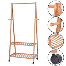 Bamboo Clothes Hanging Rack 2 Tier 4 Coat Hat Hooks Shoe Bag Storage Shelves New